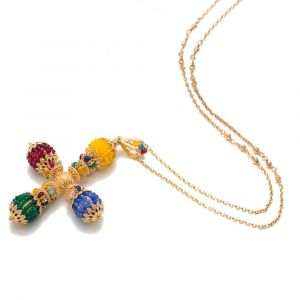 Necklace with a stylized cross in colored agates