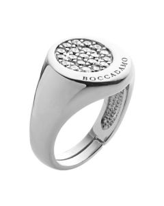 Adjustable ring in silver and zircons