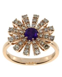 Anello in oro rosa, diamanti brown e ametista