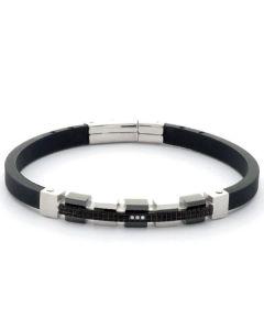 Bracelet in caucciù, steel, PVD and zircons