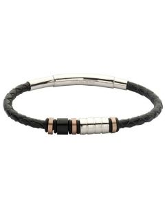 Bracelet man in black leather, steel white, black and gold plated pink