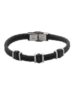Bracelet to double wire black leather braided steel and