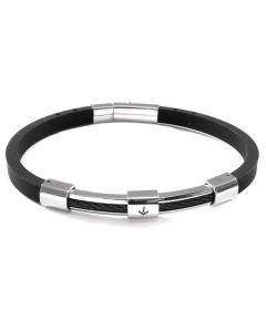 Bracelet in caucciù with central still on steel