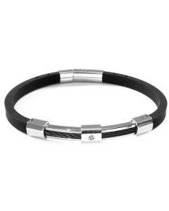 Bracelet in caucciù with Rosa dei venti on steel