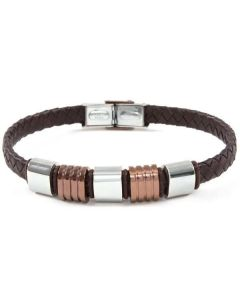 Bracelet in brown leather and steel bicolor