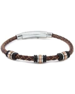 Bracelet in brown leather and caucciù