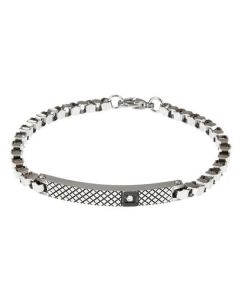 Bracelet with geometric decoration, inserts in PVD and zircons