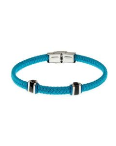 Braided Bracelet in fabric color teal and steel