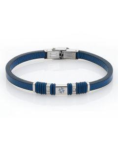 Bracelet in blue leather, zircons and Rosa dei venti enamelled