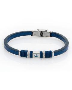 Bracelet in blue leather, zircons and enamelled still