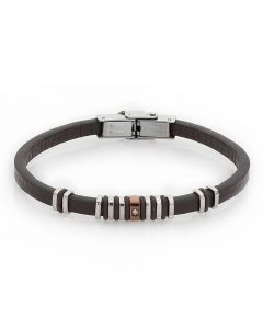 Bracelet in brown leather, PVD and zircon