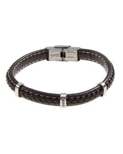 Bracelet in brown leather braided and zircons