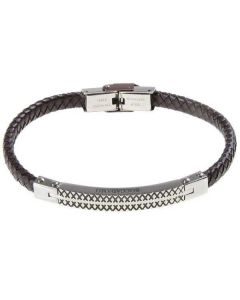 Bracelet in brown leather braided with central plate