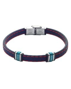 Bracelet in blue leather with zircons