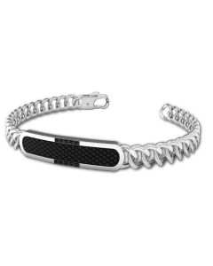 Grumetta Bracelet with central in PVD and black cubic zirconia