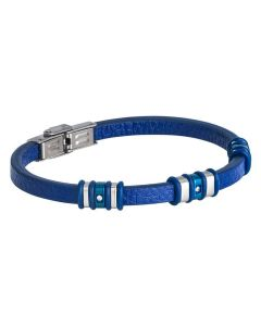Bracelet in blue leather with inserts in PVD and blue zircons