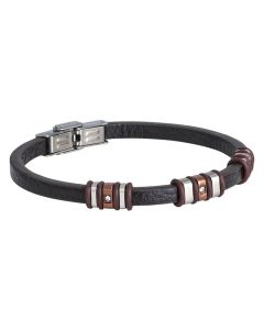 Bracelet in brown leather with inserts in PVD rosato and zircons