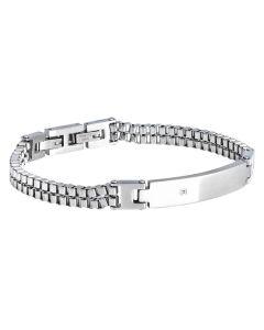 Bracelet double mesh of steel and zircon