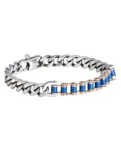 Steel Bracelet grumetta mesh and chain biker blue enamel