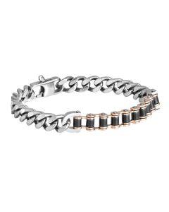 Steel Bracelet grumetta mesh and chain biker black enamelled