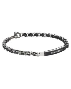 Bracelet with central plate in PVD black and black cubic zirconia