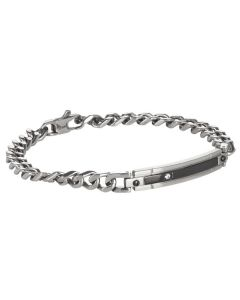 Bracelet knitted or crocheted curve in steel, PVD and zircons