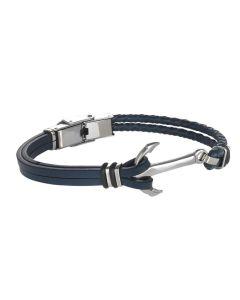 Bracciale doppio filo in cuoio blu, chiusura ad ancora in acciaio e o-ring di caucciù
