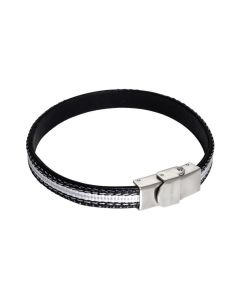 Bracelet in natural leather and black inserts of braided nylon black and white