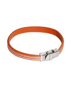 Bracciale in pelle naturale arancione ed inserti di nylon intrecciato arancione, bianco e rosso