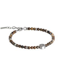 Bracelet with boules tiger-eye and tiller