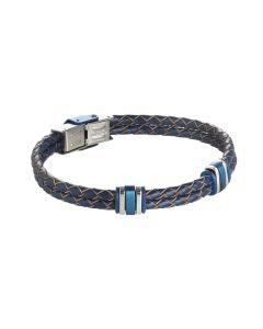 Bracciale in cuoio blu intrecciato con inserti in acciaio