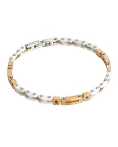 Bracelet modular steel, pvd pink and zircons