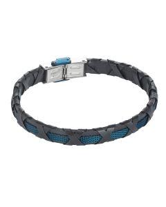 Bracelet black leather, blue insert and braided decoration