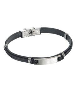 Bracelet in leather and lanyard marino black