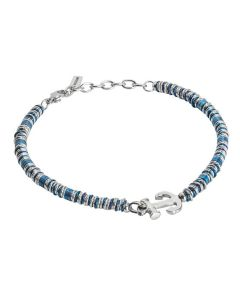 Soft Bracelet with still and rhodium-plated washers and blue