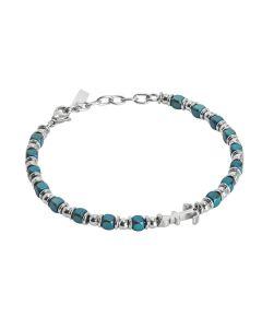 Bracciale beads con ematite blu ed ancora