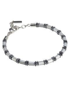 Men's bracelet in white steel and hematite
