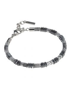 Man bracelet with mobile elements in steel and hematite