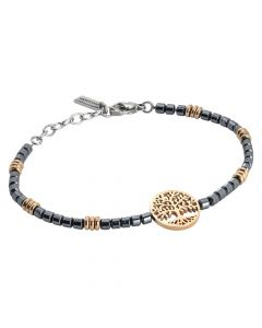 Man bracelet in steel and rosy tree of life