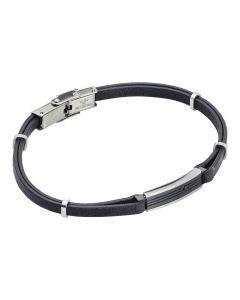 Natural black and zircon leatherette bracelet