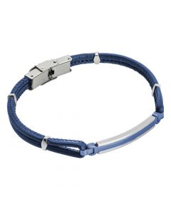 Blue braided leatherette bracelet