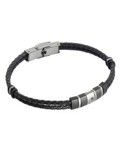 Two-wire bracelet in black imitation leather and zircon