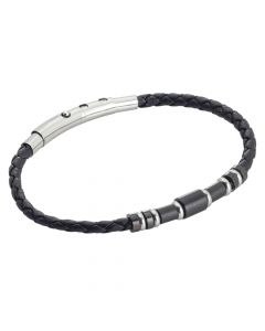 Black leatherette bracelet and black PVD inserts