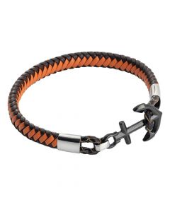 Brown and orange leatherette bracelet with anchor