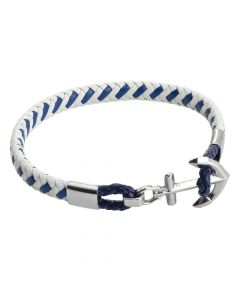 White and blue leatherette bracelet with anchor