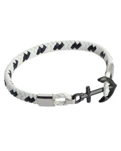 Black and white leatherette bracelet with anchor