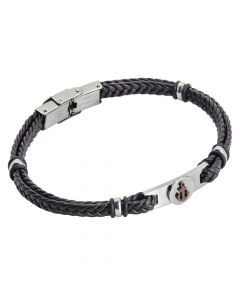 Brown leatherette bracelet with pinkish pvd anchor