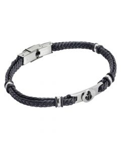 Black leatherette bracelet with pinkish pvd anchor