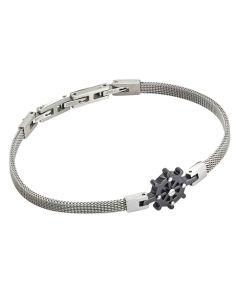 Milan mesh steel bracelet with pvd rudder