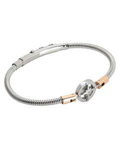 Tubular steel bracelet with wind rose